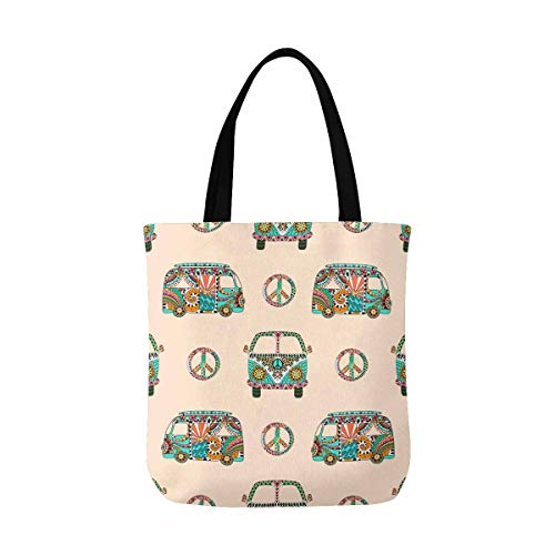 InterestPrint Colorful Hippy Ornamental Camper Bus with Hippie Peace Sign Canvas Tote Bags Reusable Shopping Bags Grocery Bags Washable Bags for Women Men Kids