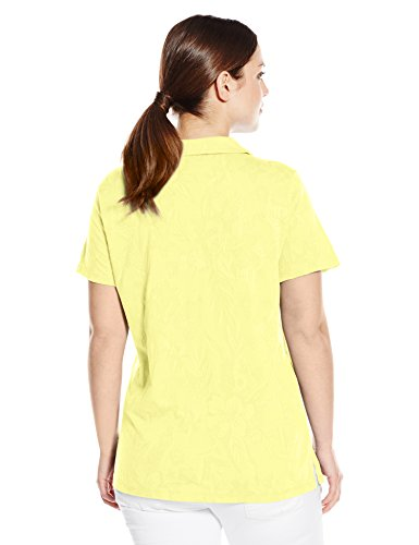 Caribbean Joe Women's Plus-Size Short Sleeve Cotton Jacquard Y Neck Polo, Ice Lime, 3X
