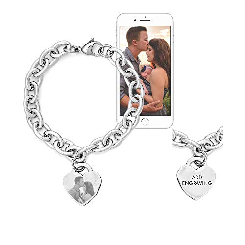 Eve's Addiction Custom Stainless Steel Heart Tag Photo Engraved Bracelet (7