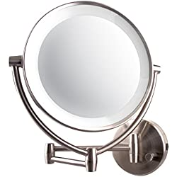 Ovente LED Lighted Wall Mount Makeup Mirror, 1x/10x Magnification, 9.5 inch, Nickel Brushed