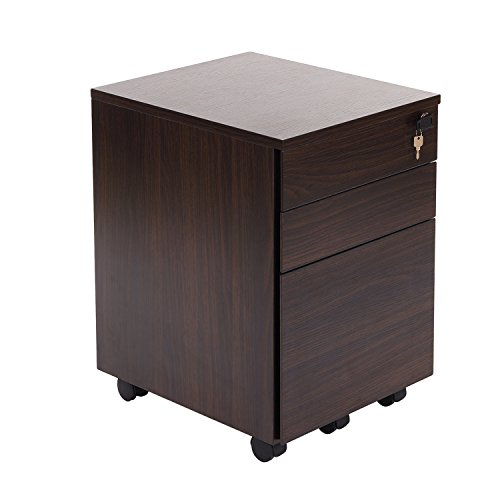 DECHO 3 Drawer Wood Mobile File Cabinet Fully Assembled Except Casters (Walnut)