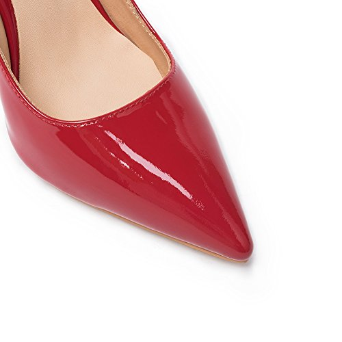 Darco Gianni Damen Pumps Stiletto Hoher Absatz Frauen Hochzeit Party Abend Schuhe High Heel Spitze Lackleder Rot Lackleder