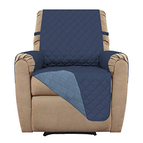 (Easy-Going Recliner Sofa Slipcover Reversible Sofa Cover Furniture Protector Couch Shield Water Resistant Elastic Straps Pets Kids Children Dog Cat (Recliner, Dark Blue/Light Blue))