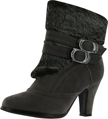 ANNA Nb200-08 Women's High Heel Ankle Boots With Fake Fur Trim,Grey,8 ()