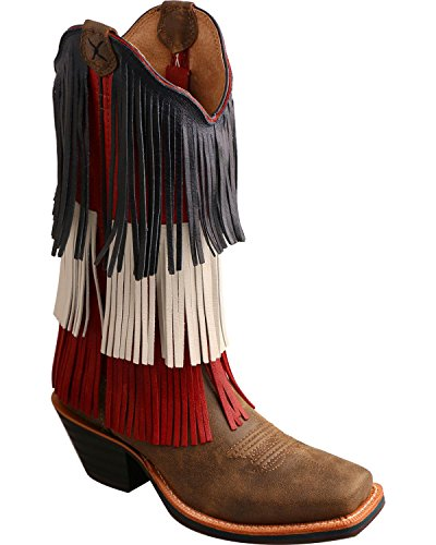 Twisted X Women's Ruff Stock Vfw Fringe Cowgirl Boot Square Toe Bomber 10 M US