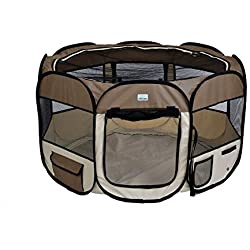 "EXPAWLORER 56"" Puppy Playpen Dog Exercise Kennel Cat Portable Foldable Pen for Small Medium Pets, With Carry Bag, Brown"