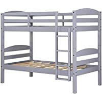 Better Homes & Gardens WM3921G-DC Leighton Twin Over Twin Wood Bunk Bed (Gray)