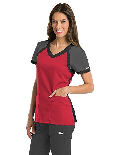 Grey's Anatomy Active Women's 41435 Color Block V-Neck Scrub Top- Scarlet Red/Granite/Black- Small