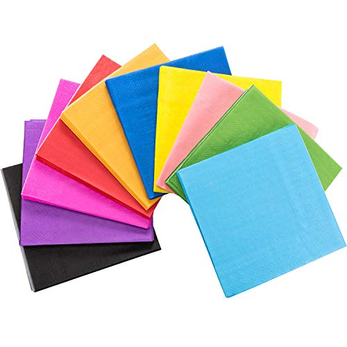 (TecUnite 100 Pieces Cocktail Napkin Beverage Luncheon Paper Napkins Neon Napkins 2 Ply for Party Favors, 10 Colors)