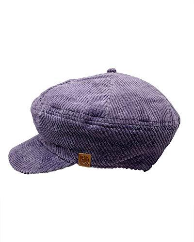 The Hatter Newsboy Cap Thick Corduroy 6 Panel Cabbie (Purple)