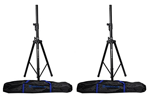 - 2 Rockville DJ PA Tripod Speaker Stands+Bags, Hydraulic Air Auto Lift RVSS4AB