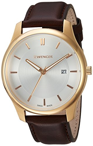 Wenger-Mens-City-Classic-Swiss-Quartz-Gold-Tone-and-Leather-Casual-Watch-ColorBrown-Model-011441107