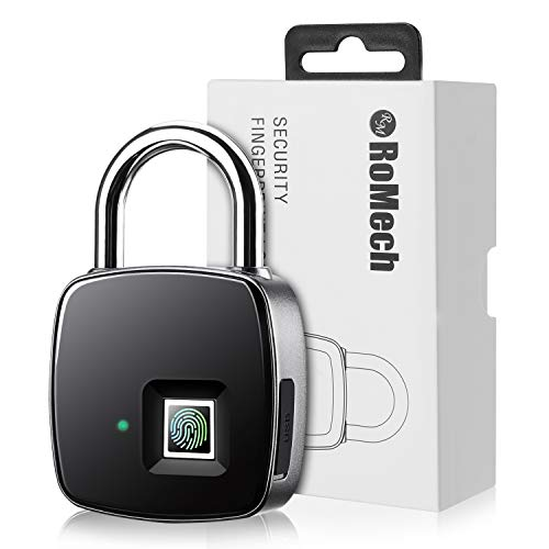 Fingerprint Padlock – RoMech Smart IP65 Waterproof Keyless Biometric Lock Gym, Locker, Door, Backpack, Luggage, Suitcase, Bike, Office, USB Charging (3rd Gen)