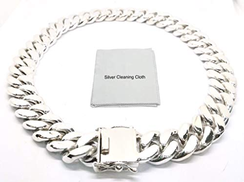 - joy-nin Huge 925 Sterling Silver 20 mm Cuban Link Curb Chain Necklace for Men with Silver Cleaning Cloth and Velvet Box (24)