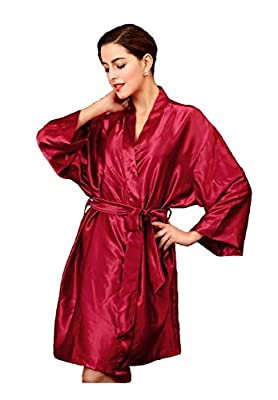 Sipaya Women's Silk Robes Solid Satin Kimono Robe Bathrobe with Oblique V Neck
