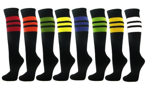 Couver Stripes on Black Knee High Sports/Softball Socks