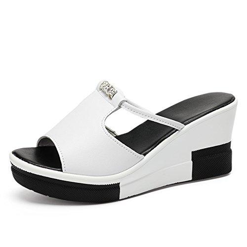 ZPPZZP Ms sandali pantofole a tacco alto trascinare spessa pendenza con il bianco 35EU