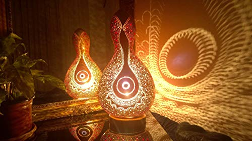 The Felicity Red Beadwork | Gourd Lamp Night Light Unique Birthday Anniversary Gift Idea Bedroom Living Room Home Decor