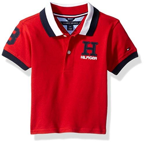 Tri Color Pique Polo - Tommy Hilfiger Baby Boy's Short Sleeve Matt Polo Shirt Shirt, regal red, 18M