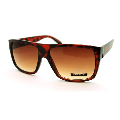 Turtle Shell Mens Rectangular Flat Top Italian Mob Gangster - Shell Sunglasses Turtle