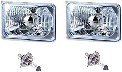 H4 LED WHITE BULBS HL04LF 1 PAIR 4x6 SEMI SEALED CLEAR H4 CONVERSION HEADLIGHT