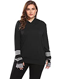 16ca631cd5494 Womens Plus Size Long Sleeve Casual Loose T-Shirts Blouse Tunic Tops with Thumb  Hole
