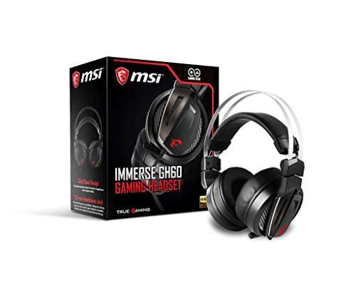 MSI Gaming Stainless Steel Headband HI Res Audio Over Ear with Volume Control Headset (Immerse GH60 Gaming Headset)