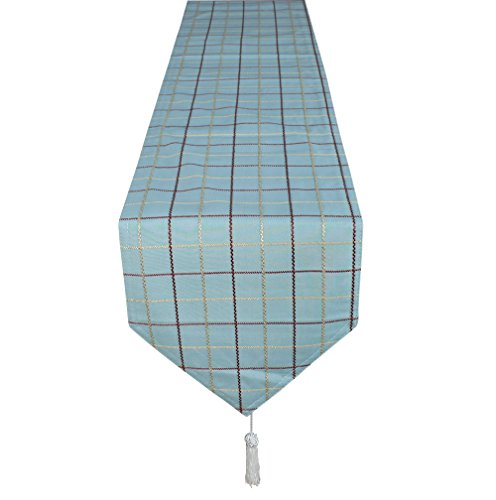 Lovein Table Runner 13x79 inch Blue Check Pattern,Heavy Weight Rectangle Polyester Fabric Decorative Christmas Table - Logo In Yellow Blue Rectangle Oval