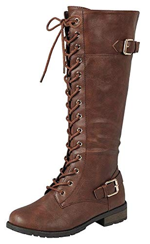 Forever Link Mango-27 Women's Strappy Lace-Up Knee High Combat Stacked Heel Boot,Brown,8.5