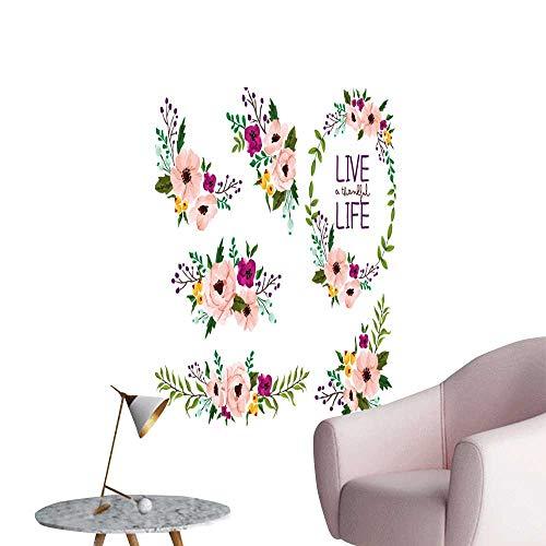 - SeptSonne Wall Decals Flower Set Environmental Protection Vinyl,28