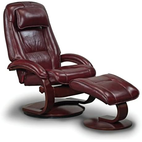 Mac Motion Oslo Collection Recliner With Matching Ottoman In Merlot Top Grain Leather With Alpine Frame