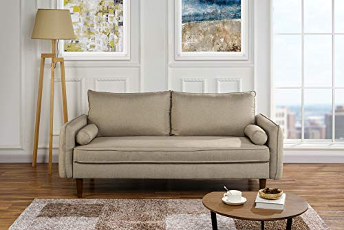Modern Living Room Fabric Sofa, Couch with Bolster Pillows (Hazelnut) ()