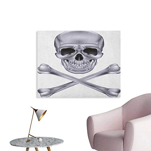 Anzhutwelve Grey Poster Wall Decor Vivid Skull and Crossed Bones Dangerous Scary Dead Skeleton Evil Face Halloween Theme Funny Poster Dimgray W36 xL32 -