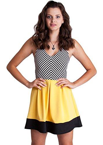 Woman Racerback V-Neck Vertical Striped Yellow Skater Skirt Dress