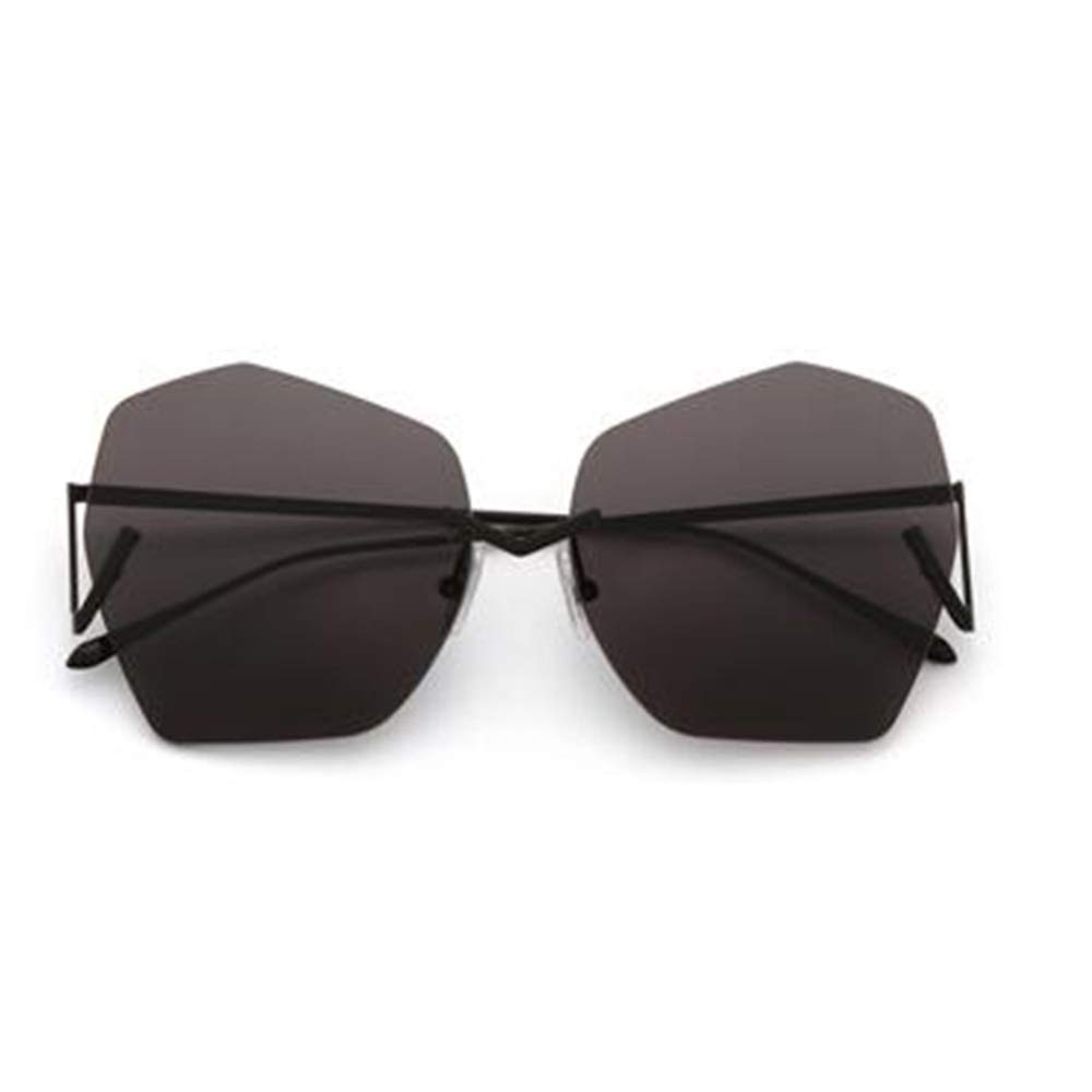 Black Women's Sunglasses Irregular Frameless Lens Unique Metal Hinge Retro Fashion Trend Black