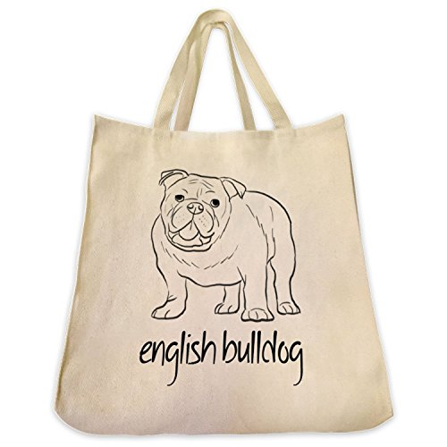 English Bulldog Outline Extra Large Eco Friendly Cotton Canvas Reusable Shopping Handbag Tote Bag