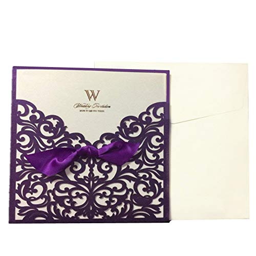 "Graces Dawn 50pcs Laser-cut Lace Flower Pattern Wedding Invitations Cards(set of 50pcs) and Blank Cards and Envelopes 6 x 6"" – Value Pack (Purple)"
