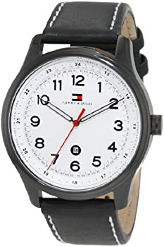Tommy Hilfiger Men's Andre White Dial Leather Strap Watch