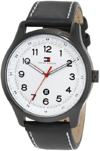 Tommy Hilfiger Men s 1710309 Classic Black IP Case and Blk leather strap Watch
