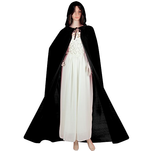 Acediscoball Women's Velvet Cape with Hood Halloween Witch Costume Cloak (Black) (Medieval Halloween Costumes)