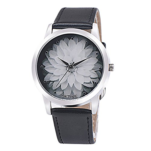 Clearance! Women Charm Lotus Pattern Watch SINMA Casual PU Leather Bracelet Exquisite Quartz Wrist Watch (Black)