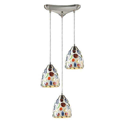 Alumbrada Collection Gemstones 3 Light Pendant In Satin Nickel And Sculpted Multicolor Glass