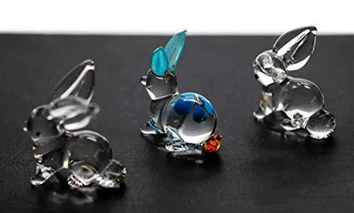 - ChangThai Design 3 Pcs Mini Blue Rabbit Flower HandBowl Glass Dollhouse Miniatures Decoration Figurine Collection