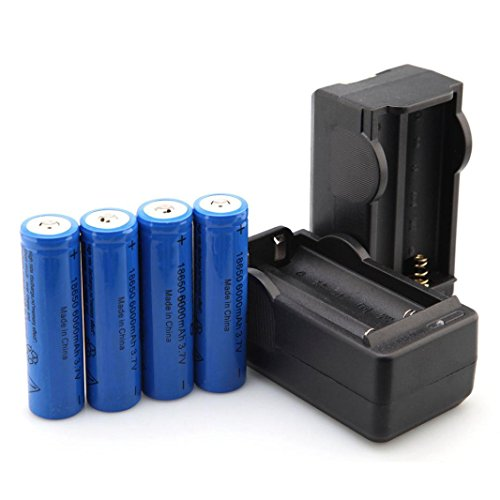 18650 Battery with Charger - 4 Pack 18650 Battery 3.7V 6000mAh Performance Li-ion Rechargeable Batteries Button Top Battery with 2 Pack 2 Bay Charger For Outdoor LED Flashlight Torch by Buyeverything