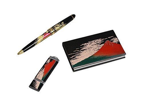 Lacquer stationery set L red Fuji (B) 8V-518 by Before throughout lacquerware