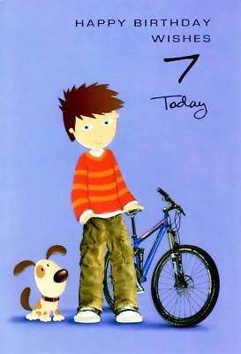 Selective Special Age Birthday Cards Boys 7Th Card 7 Boy Bike