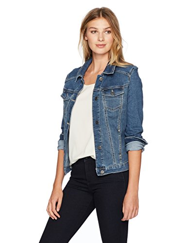 (Riders by Lee Indigo Women's Stretch Denim Jacket, Weathered, Medium)
