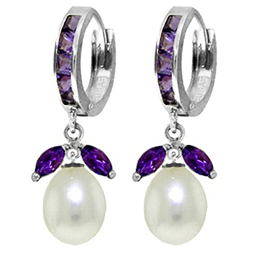 ALARRI 10.3 Carat 14K Solid White Gold Love Religion Amethyst Pearl Earrings by ALARRI