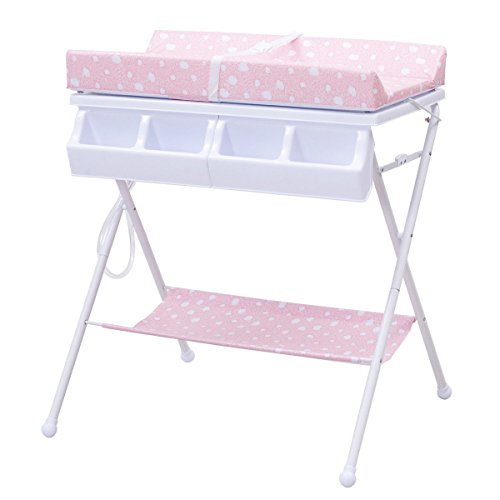 MD Group Baby Changing Table Foldable Steel Pink Cushioned Infant Bath  Diaper Storage By MD Group