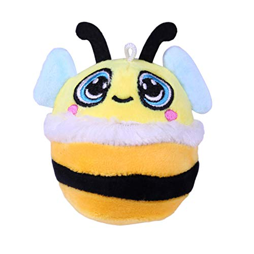 (Furry Cute Yellow Bee Stuffed Slow Rising Squeeze Keychain Stress Reliever Toy)